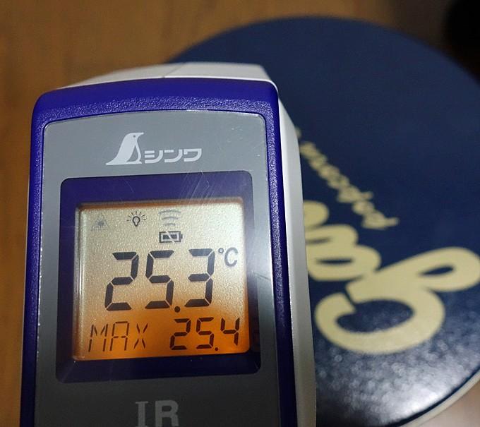 ギャレットポップコーンの缶を放射温度計で計測