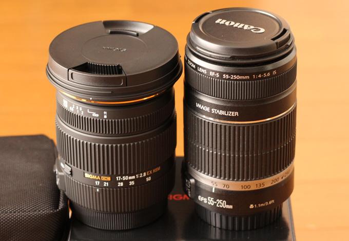 EF-S55-250mm F4-5.6 ISと17-50mm F2.8 EX DC OS HSMの大きさ比較