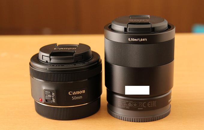 SEL55F18Zと同じf1.8のCanonレンズの大きさ比較