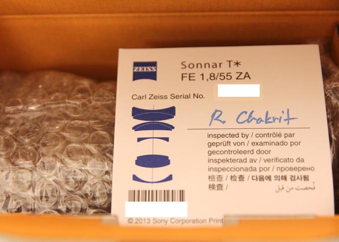 SEL55F18ZのCarl Zeissシリアル番号