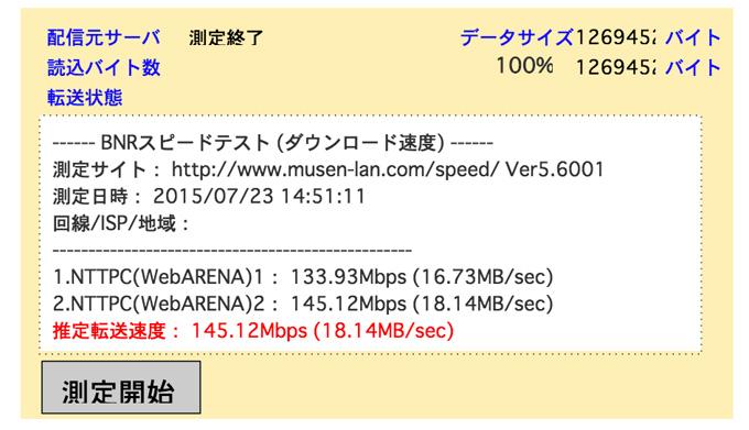 NURO光の無線LAN(Wi-Fi) 速度
