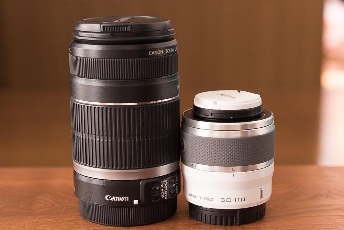 EF-S55-250mm F4-5.6と1 NIKKOR VR 30-110mm f/3.8-5.6のサイズ比較