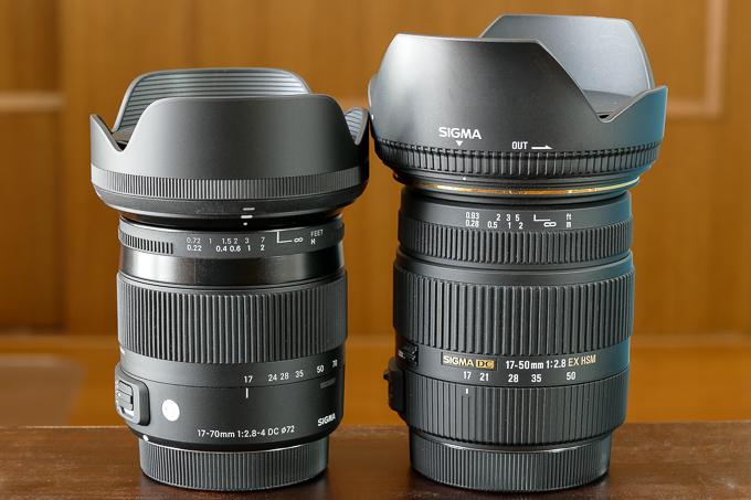 シグマの17-70mmmm F2.8-4 DC MACRO OS HSMと17-50mm F2.8 EX DC HSMとの大きさ比較