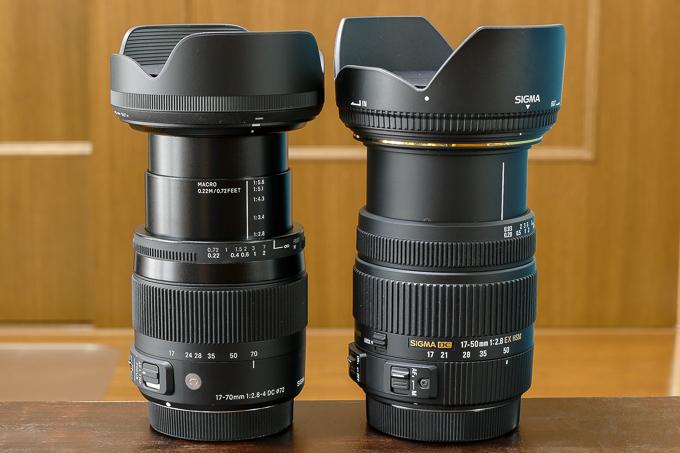 レンズを伸ばし時のシグマの17-70mmmm F2.8-4 DC MACRO OS HSMと17-50mm F2.8 EX DC HSMとの大きさ比較
