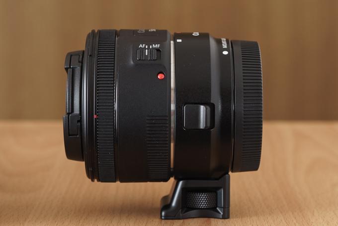 EF-EOS MとEF50mm F1.8 IIを合体