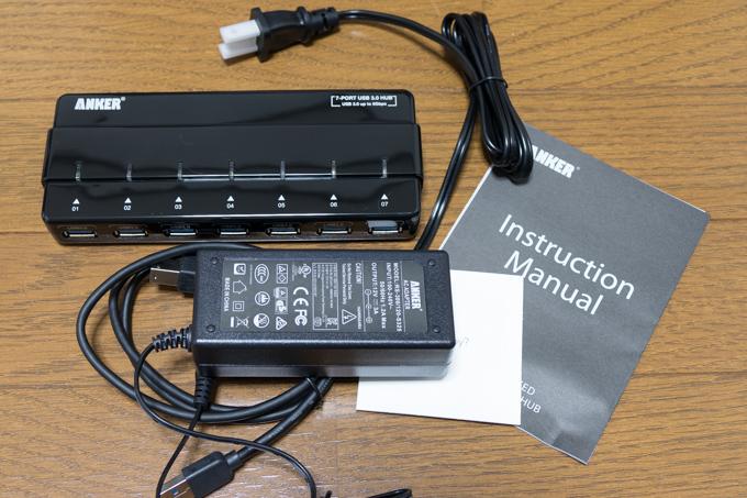 Anker「7-Port Hub with 36W Power Adapter USB 3.0」の付属品