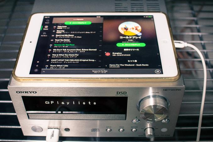 CR-N765とタブレットでSpotifyがミニコンポで聴き放題に