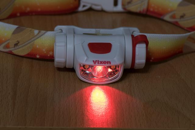 天体観測用ライト「SG-L01」の赤色LEDの光