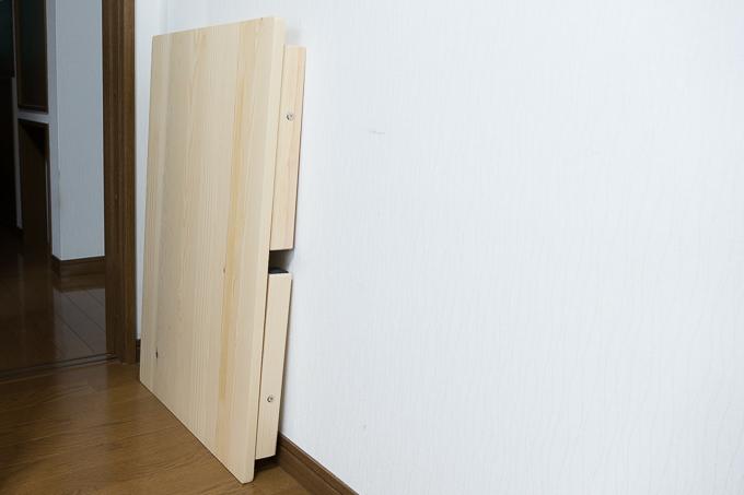 YAMAZEN(山善)折りたたみ式パイン材ローテーブルはコンパクトに収納可能