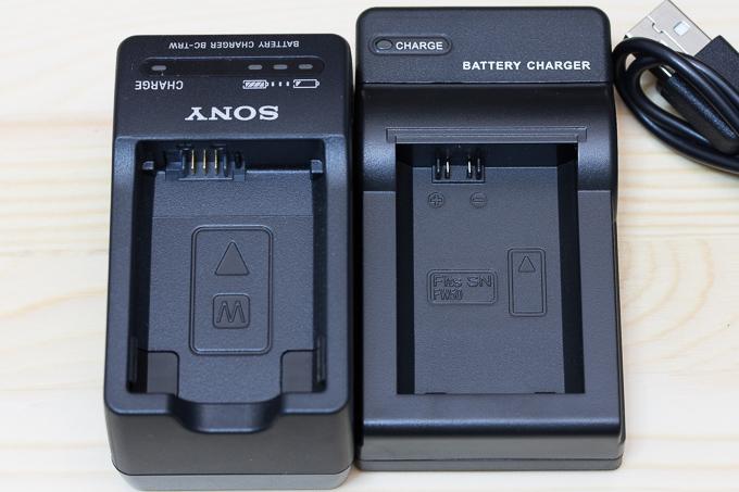エーポケNP-FW50対応USB充電器とソニー純正バッテリーチャージャーBC-TRWとの比較