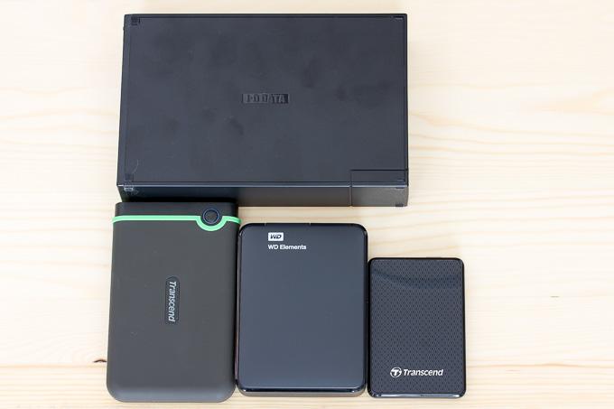 各社ポータブルHDDのサイズ比較