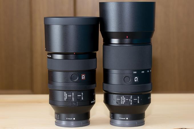 SEL100F28GMとSEL70300Gの大きさ比較