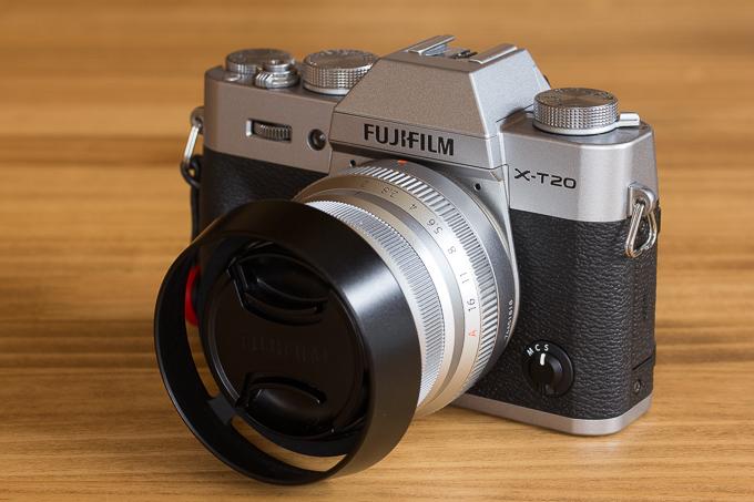 X-T20にXF35mmF2 R WRを取り付けた際のサイズ感