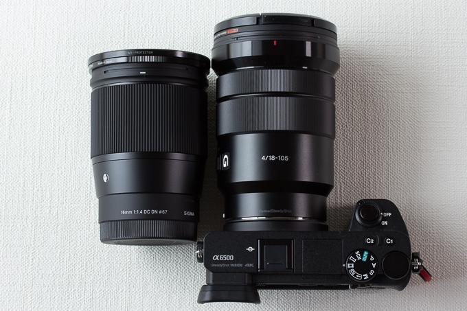 16mm F1.4 DC DNとSELP18105Gのサイズ比較