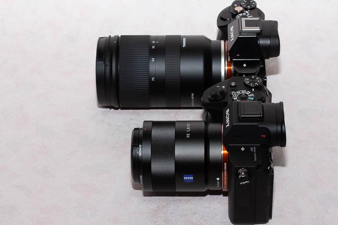 28-75mm F/2.8 Di III RXDとSEL55F18Zのサイズ比