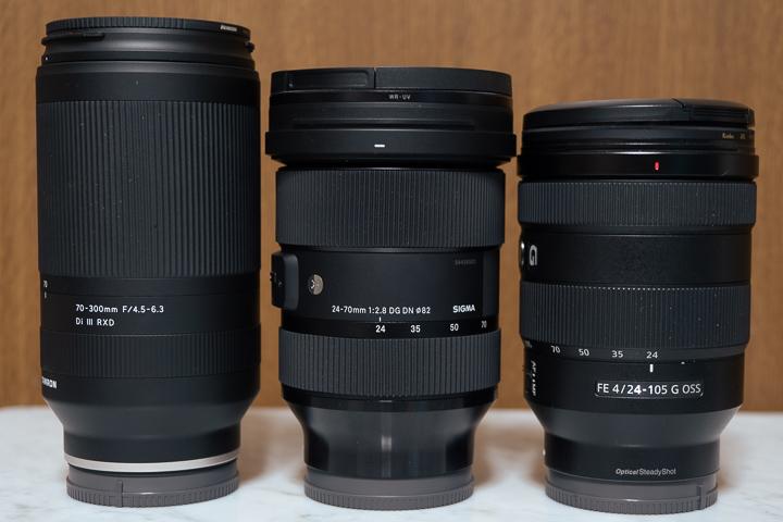 SEL24105G、24-70mm F2.8 DG OS HSMとのサイズ比較