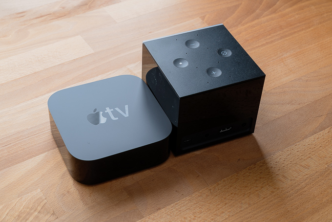 Apple TV 4K vs Fire TV Cube本体サイズ比較